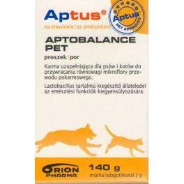 Aptus Aptobalance Pet Pro i prebiotyk zawierający bakterie kwasu mlekowego do przywracania równowagi mikroflory przewodu pokarmowego.